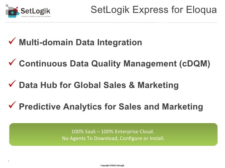 SetLogik Express for Eloqua Multi-domain Data Integration Continuous Data Quality Management (cDQM) Data Hub for Global...