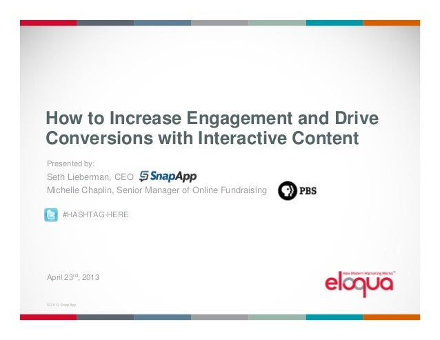 © 2013 SnapApp. 1© 2013 SnapAppHow to Increase Engagement and DriveConversions with Interactive ContentPresented by:Seth L...