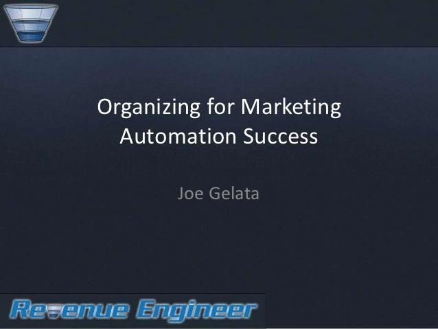 Organizing for Marketing  Automation Success       Joe Gelata