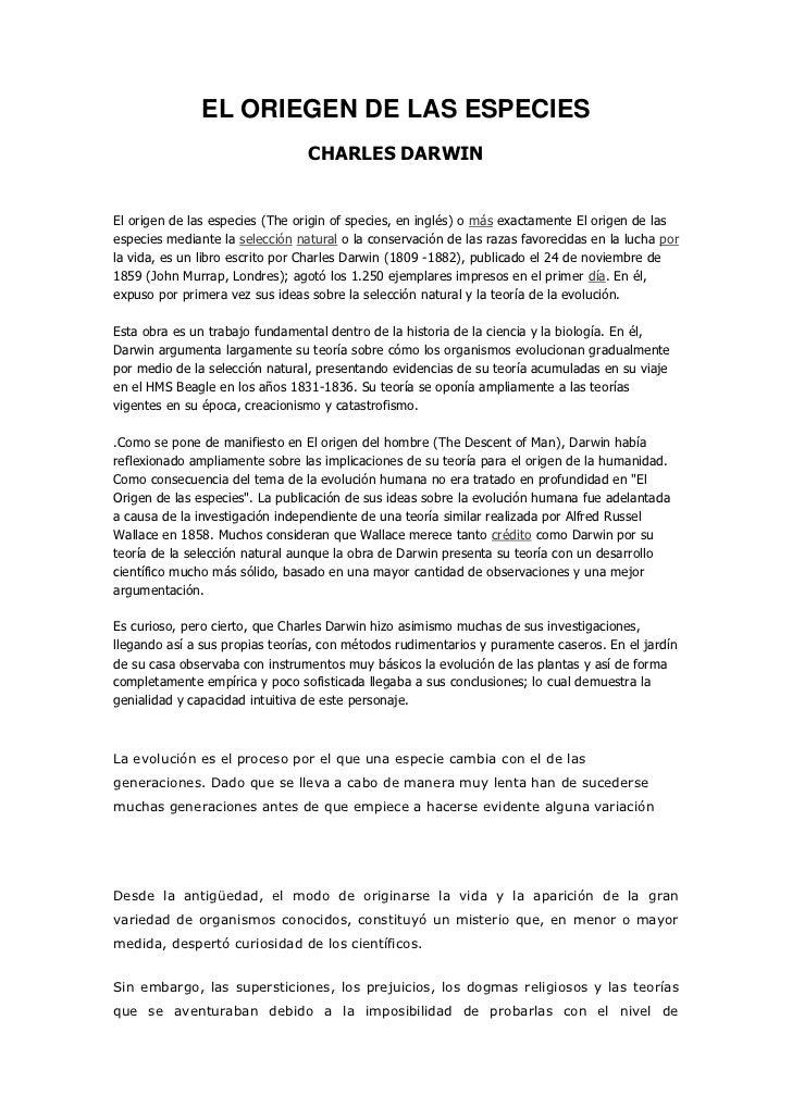 EL ORIEGEN DE LAS ESPECIES<br />CHARLES DARWIN<br />El origen de las especies (The origin of species, en inglés) o más exa...