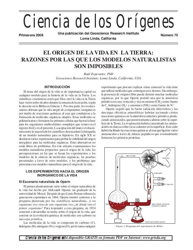Ciencia de los OrígenesPrimavera 2008                   Una publicación del Geoscience Research Institute                 ...