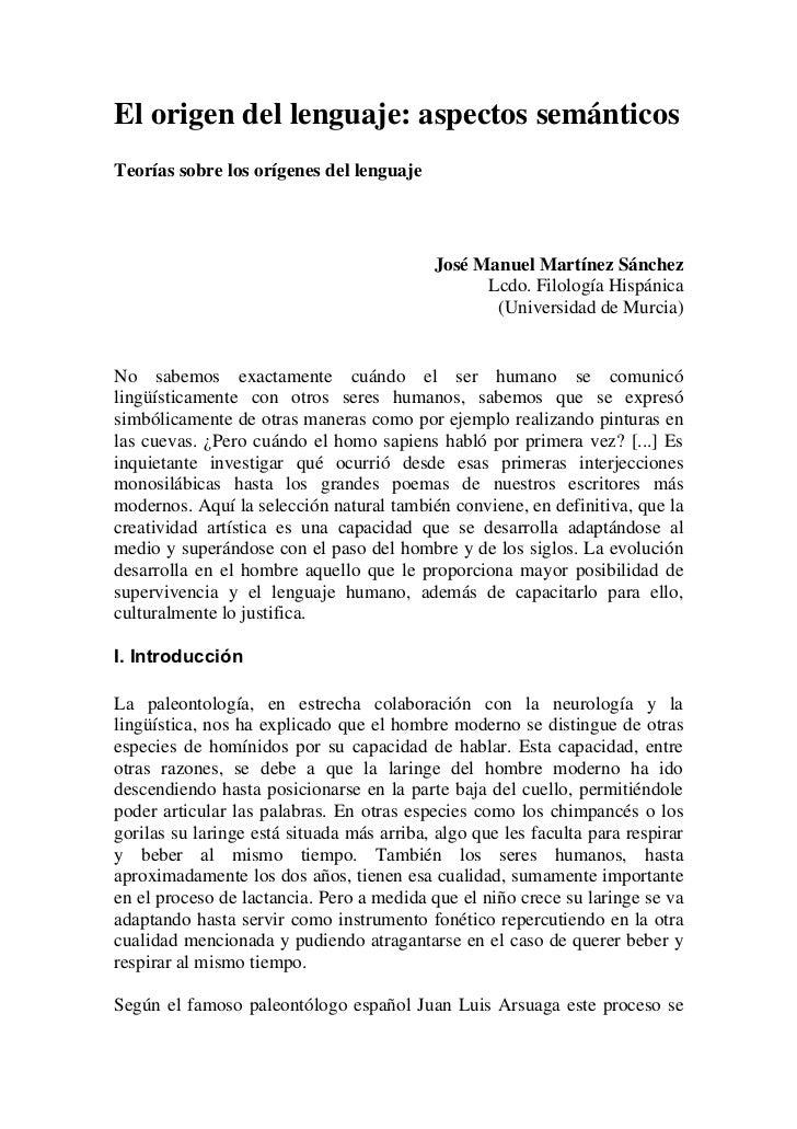 El origen del lenguaje: aspectos semánticosTeorías sobre los orígenes del lenguaje                                        ...