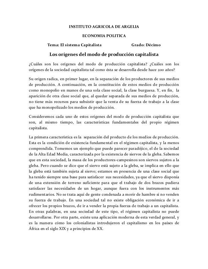 INSTITUTO AGRICOLA DE ARGELIA                               ECONOMIA POLITICA          Tema: El sistema Capitalista       ...
