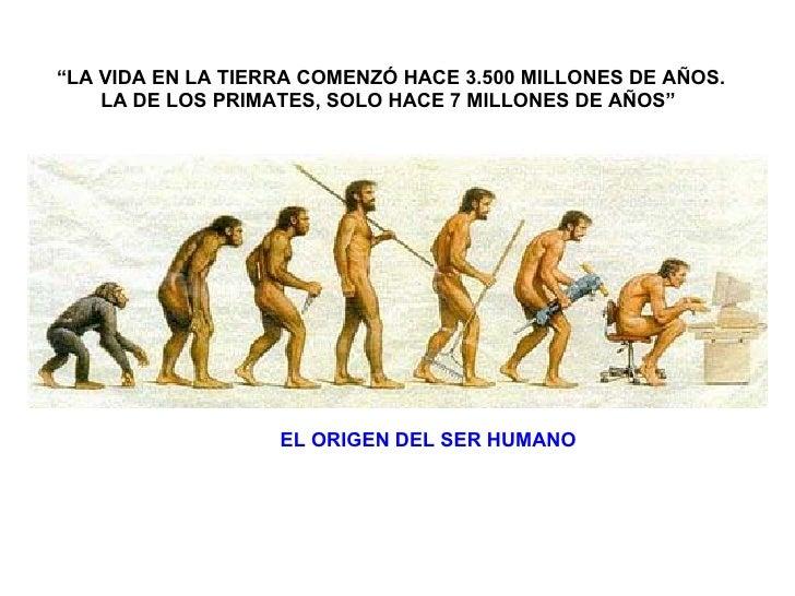 """EL ORIGEN DEL SER HUMANO """" LA VIDA EN LA TIERRA COMENZÓ HACE 3.500 MILLONES DE AÑOS. LA DE LOS PRIMATES, SOLO HACE 7 MILLO..."""