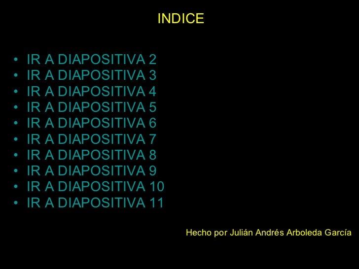 INDICE <ul><li>IR A DIAPOSITIVA 2 </li></ul><ul><li>IR A DIAPOSITIVA 3 </li></ul><ul><li>IR A DIAPOSITIVA 4 </li></ul><ul>...