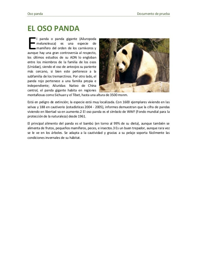 Oso panda Documento de prueba  EL OSO PANDA  l panda o panda gigante (Ailuropoda melanoleuca) es una especie de mamífero d...