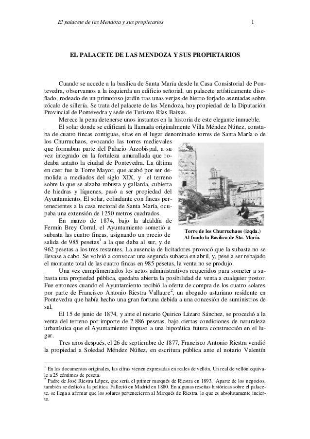El palacete de las Mendoza y sus propietarios 1 Torre de los Churruchaos (izqda.) Al fondo la Basílica de Sta. María. EL P...