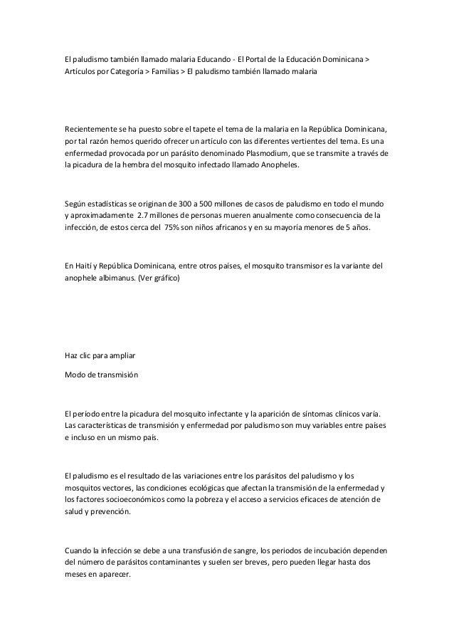 El paludismo también llamado malaria Educando - El Portal de la Educación Dominicana > Artículos por Categoría > Familias ...