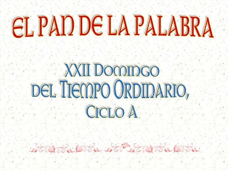 EL PAN DE LA PALABRA - XXII T.O. - A