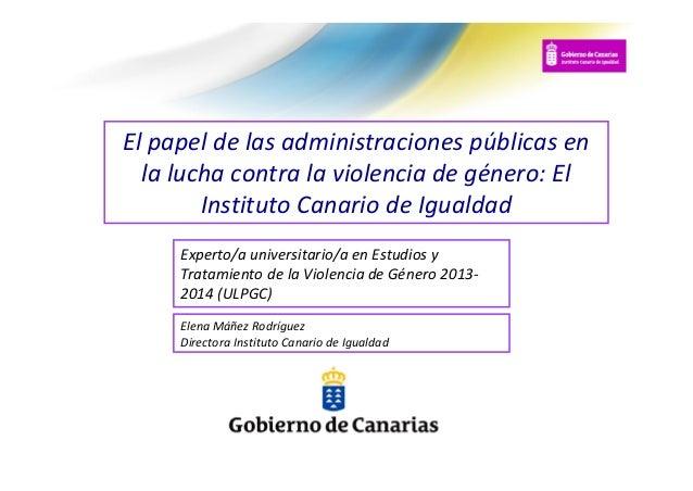 El papel de las administraciones públicas en la lucha contra la violencia de género: El Instituto Canario de Igualdad Expe...