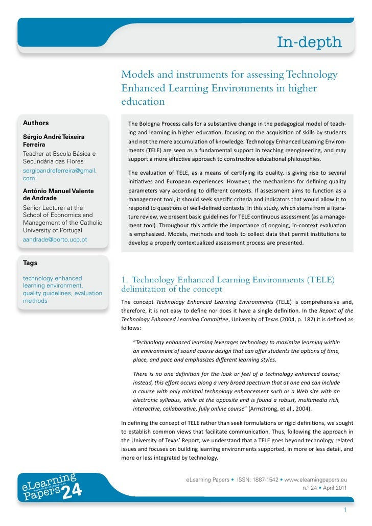 In-depth                                 Models and instruments for assessing Technology                                 E...