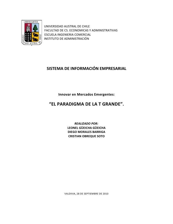 UNIVERSIDAD AUSTRAL DE CHILE FACULTAD DE CS. ECONOMICAS Y ADMINISTRATIVAS ESCUELA INGENIERIA COMERCIAL INSTITUTO DE ADMINI...
