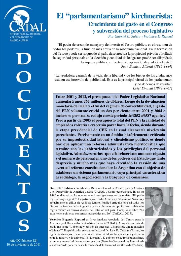 """El """"parlamentarismo"""" kirchnerista:                                                           Crecimiento del gasto en el C..."""