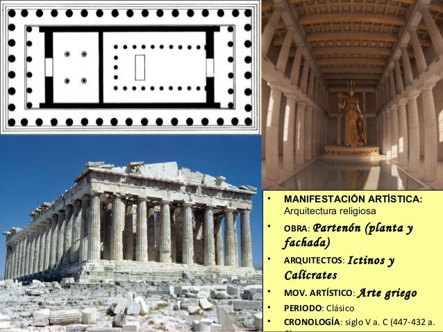 •  MANIFESTACIÓN ARTÍSTICA: Arquitectura religiosa  •  OBRA: Partenón  (planta y  fachada) •  ARQUITECTOS: Ictinos  y  Cal...