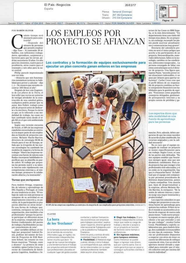 26/03/17El País -Negocios España Prensa: Semanal (Domingo) Tirada: 267.362 Ejemplares Difusión: 210.034 Ejemplares Página:...