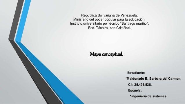 """Republica Bolivariana de Venezuela. Ministerio del poder popular para la educación. Instituto universitario politécnico """"S..."""
