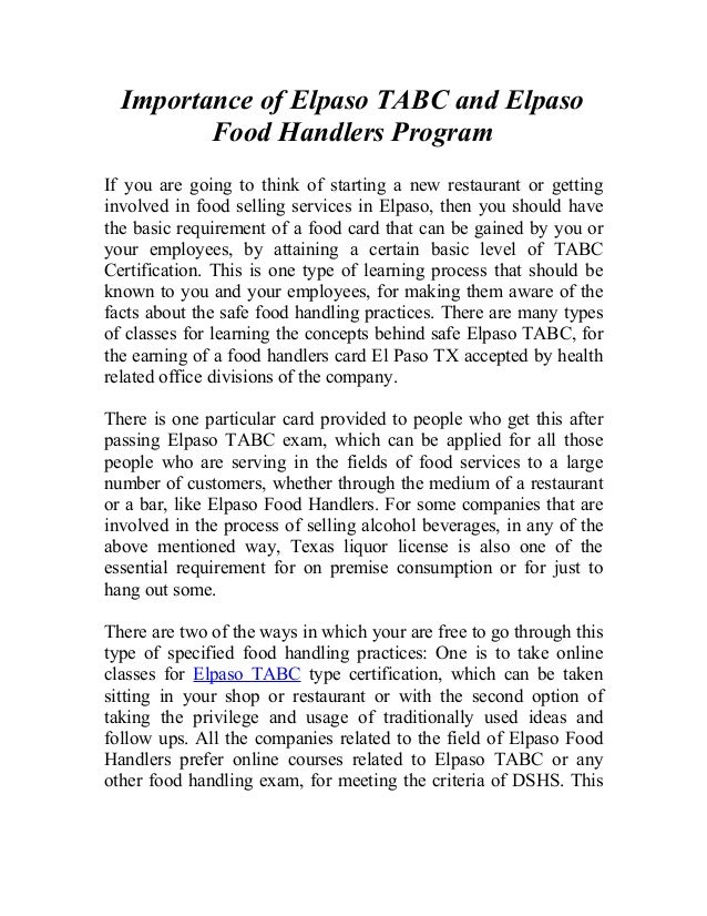 Importance Of Elpaso Tabc And Elpaso Food Handlers Program