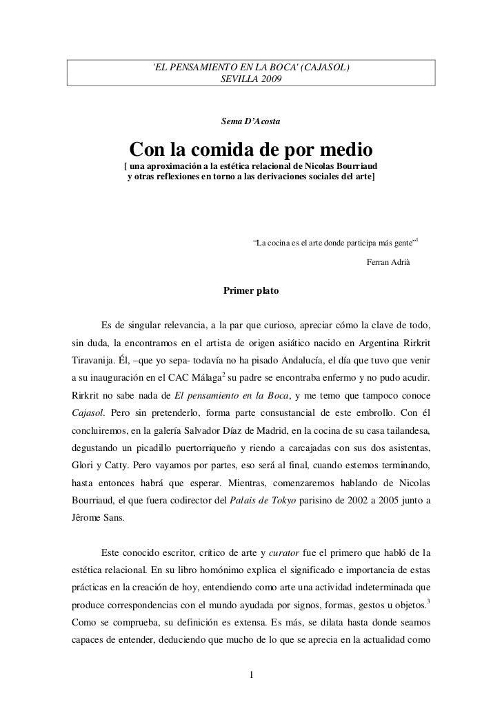 EL PENSAMIENTO EN LA BOCA (CAJASOL)                               SEVILLA 2009                                     Sema D'...