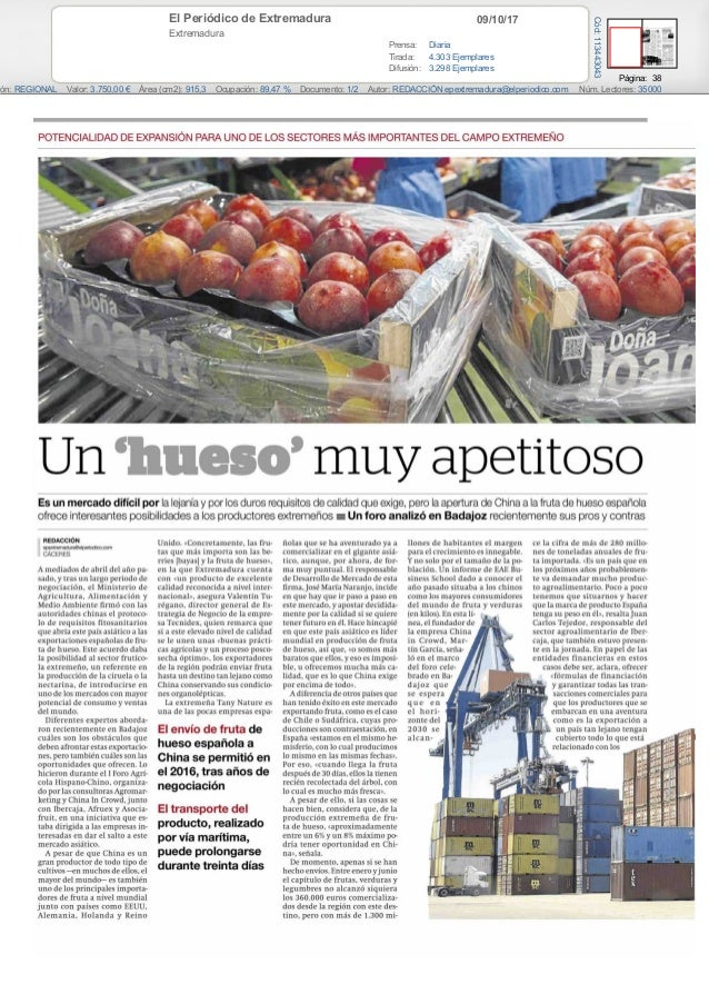 09/10/17El Periódico de Extremadura Extremadura Prensa: Diaria Tirada: 4.303 Ejemplares Difusión: 3.298 Ejemplares Página:...