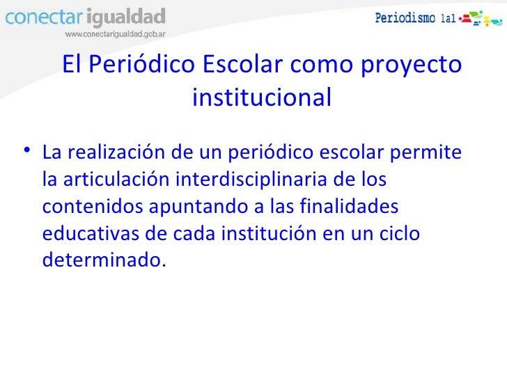 El peri dico escolar como proyecto institucional for Proyecto de comedor escolar
