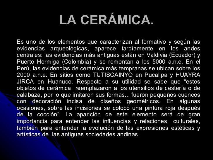 El periodo formativo andino for Que es ceramica