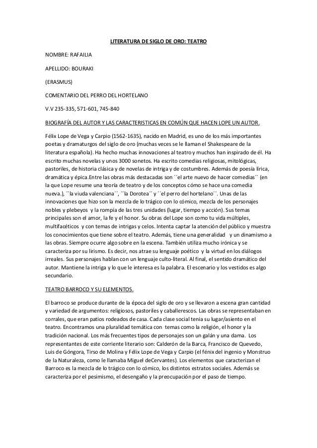 LITERATURA DE SIGLO DE ORO: TEATRONOMBRE: RAFAILIAAPELLIDO: BOURAKI(ERASMUS)COMENTARIO DEL PERRO DEL HORTELANOV.V 235-335,...