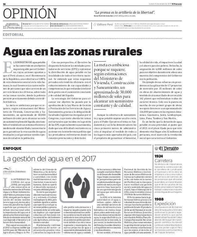 """10 Jueves 5 de enero de 2017 El Peruano OPINIÓN POLÍTICA EDITORIAL """"La prensa es la artillería de la libertad"""". HansDietr..."""