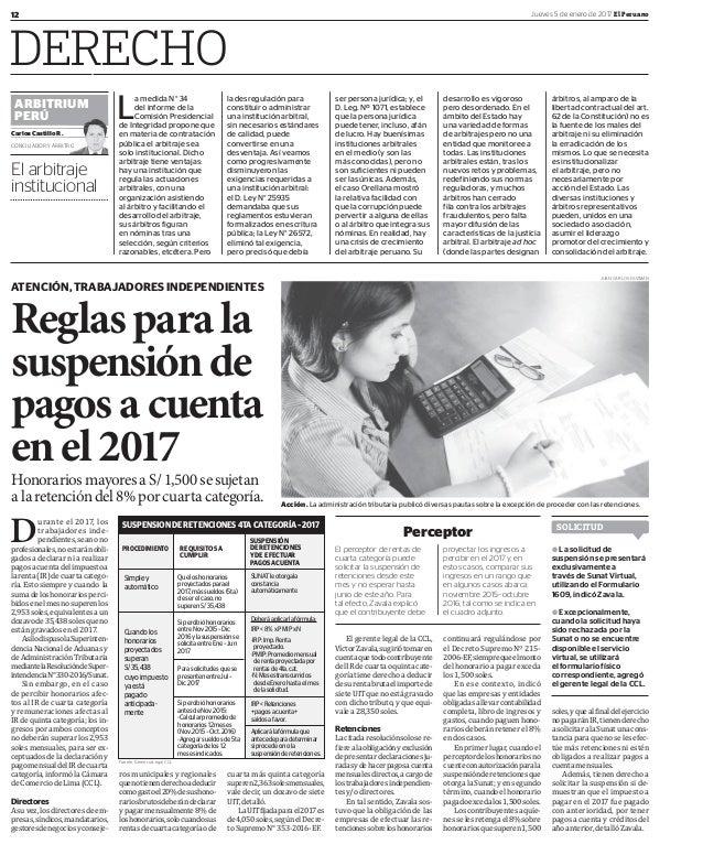 12 Jueves 5 de enero de 2017 El Peruano DERECHO ATENCIÓN, TRABAJADORES INDEPENDIENTES Reglasparala suspensiónde pagosacuen...