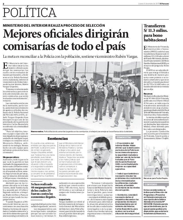 2 Jueves 5 de enero de 2017 El Peruano POLÍTICA El Ministerio de Vivienda, Construcción y Sanea- miento (MVCS) autorizó un...