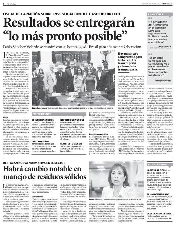4« | POLÍTICA Jueves 5 de enero de 2017 El Peruano DESTACAN NUEVA NORMATIVA EN EL SECTOR Habrácambionotableen manejoderesi...