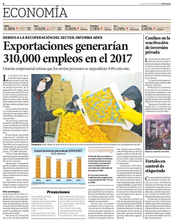 6 Jueves 5 de enero de 2017 El Peruano ECONOMÍA Dólar Euro Bolsa Petróleo Oro Cobre 0.38% -0.92% 0.90% 1.78% 0.29% 2.60%CO...