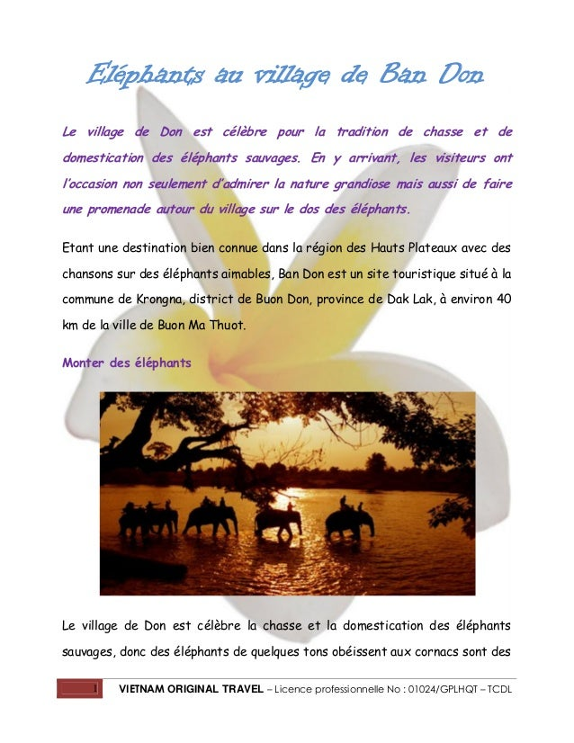 1 VIETNAM ORIGINAL TRAVEL – Licence professionnelle No : 01024/GPLHQT – TCDL Eléphants au village de Ban Don Le village de...