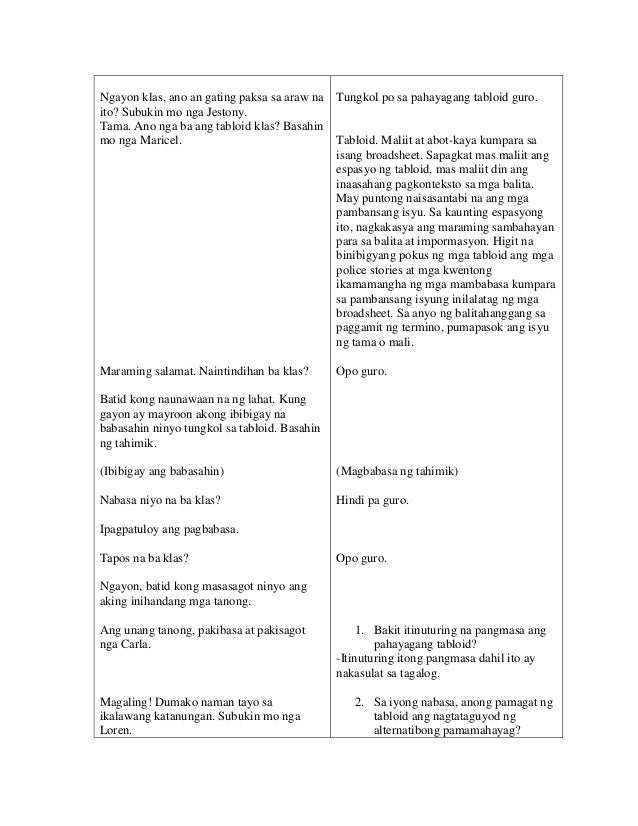 Detailed Lesson Plan in Filipino Grade 8