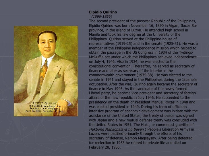 Dating pangulong elpidio quirino