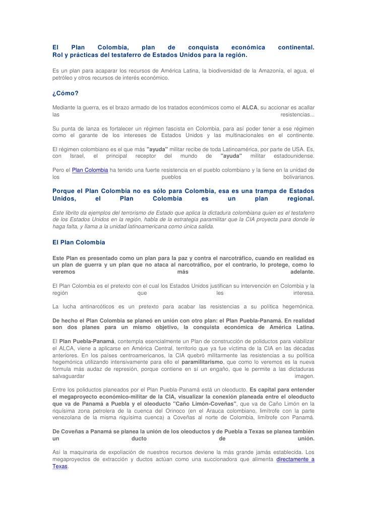 El Plan Colombia, plan de conquista económica continental. Rol y prácticas del testaferro de Estados Unidos para la región...