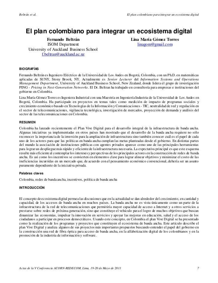 Beltrán et al.                                                              El plan colombiano para integrar un ecosistema...