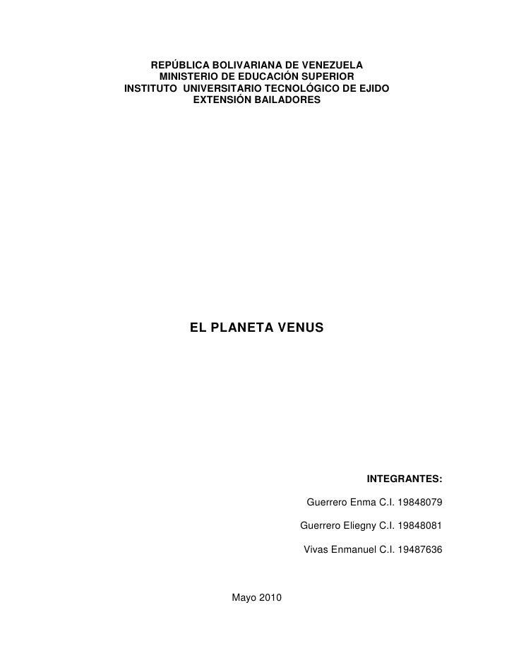 REPÚBLICA BOLIVARIANA DE VENEZUELA<br />MINISTERIO DE EDUCACIÓN SUPERIOR<br />INSTITUTO  UNIVERSITARIO TECNOLÓGICO DE EJID...