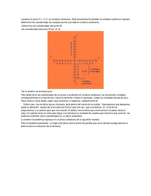 Localizar el punto A ( -4, 5 ) en el plano cartesiano. Este procedimiento también se emplea cuando se requieredeterminar l...