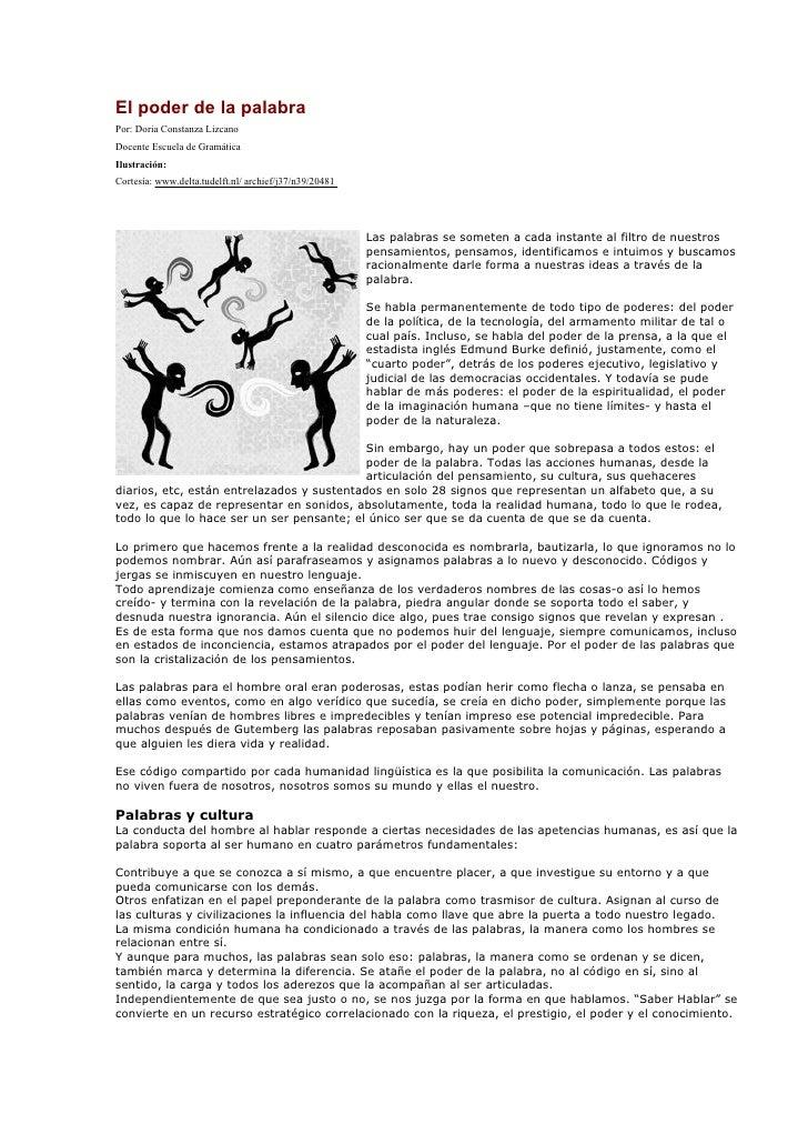 El poder de la palabra Por: Doria Constanza Lizcano Docente Escuela de Gramática Ilustración: Cortesía: www.delta.tudelft....