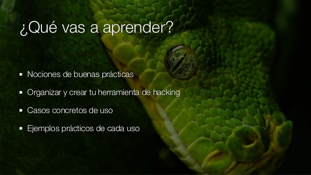 ¿Qué vas a aprender? Nociones de buenas prácticas Organizar y crear tu herramienta de hacking Casos concretos de uso Ejemp...