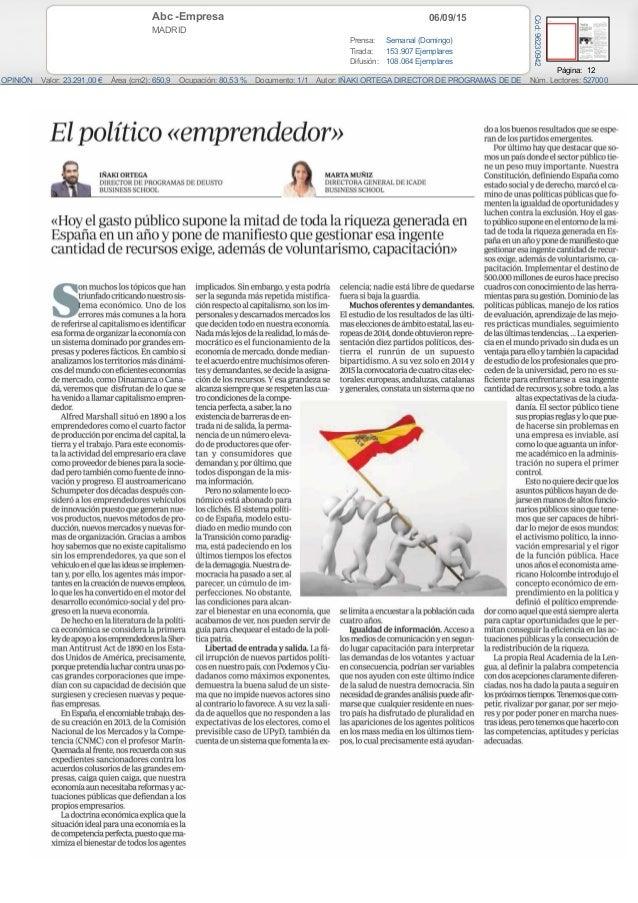 06/09/15Abc -Empresa MADRID Prensa: Semanal (Domingo) Tirada: 153.907 Ejemplares Difusión: 108.064 Ejemplares Página: 12 O...