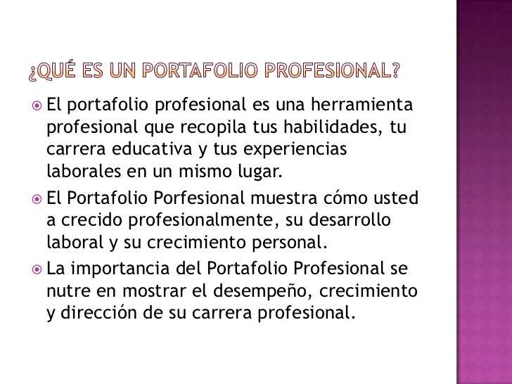El Portafolio Profesional Slide 3