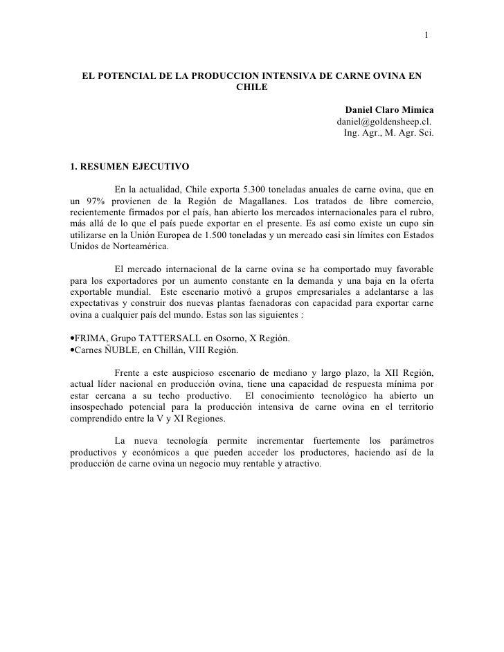 1      EL POTENCIAL DE LA PRODUCCION INTENSIVA DE CARNE OVINA EN                            CHILE                         ...