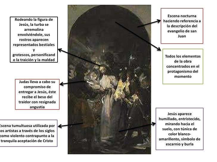 Escena nocturna         Rodeando la figura de          haciendo referencia a            Jesús, la turba se            la d...