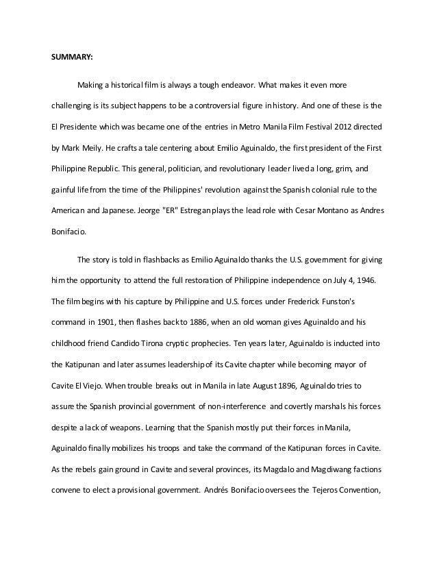 El presedente Movie - Summary and Reaction Paper