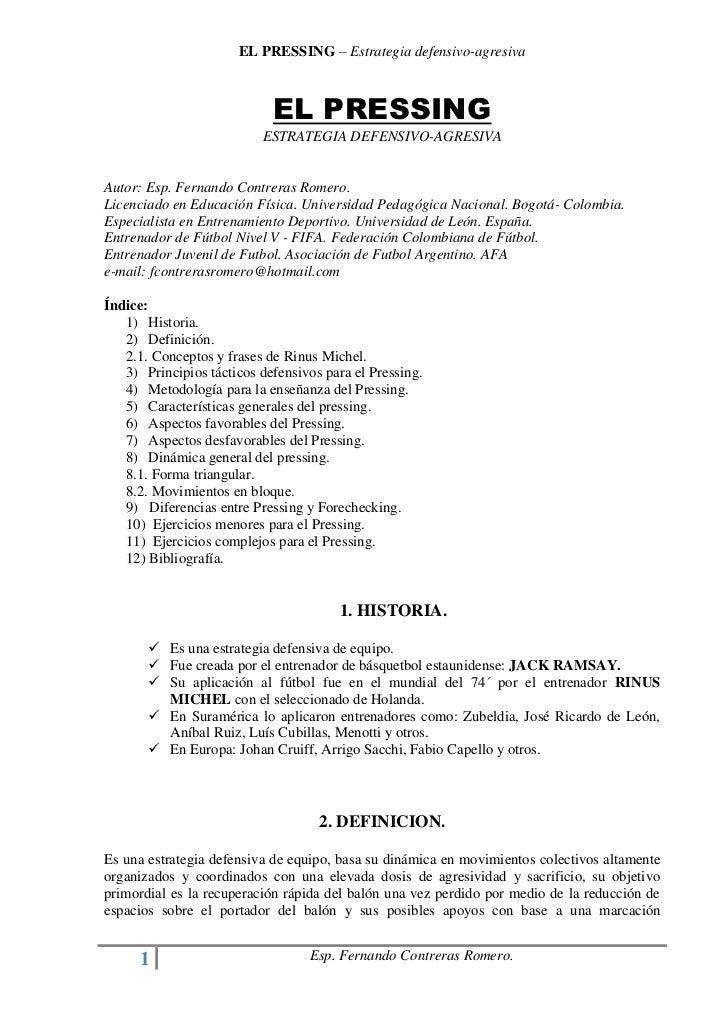 EL PRESSING – Estrategia defensivo-agresiva                            EL PRESSING                          ESTRATEGIA DEF...
