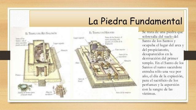 La Piedra Fundamental • Se trata de una piedra que sobresalía del suelo del Santo de los Santos y ocupaba el lugar del arc...