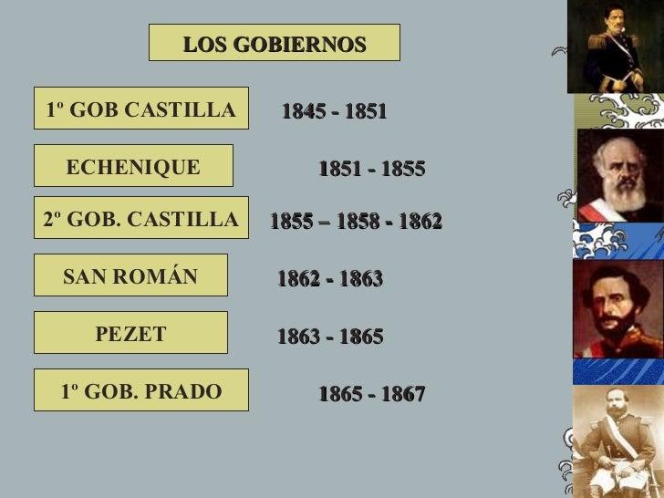 LOS GOBIERNOS  1º GOB CASTILLA     1845 - 1851   ECHENIQUE              1851 - 1855  2º GOB. CASTILLA   1855 – 1858 - 1862...