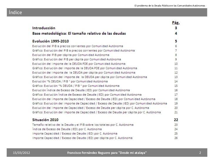 El problema de la Deuda de las Comunidades Autónomas Slide 2