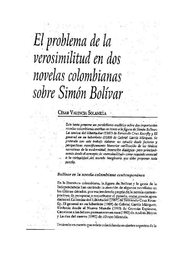 El problema de la verosimilitud en dos novelas colombianas sobre Simón Bolivar